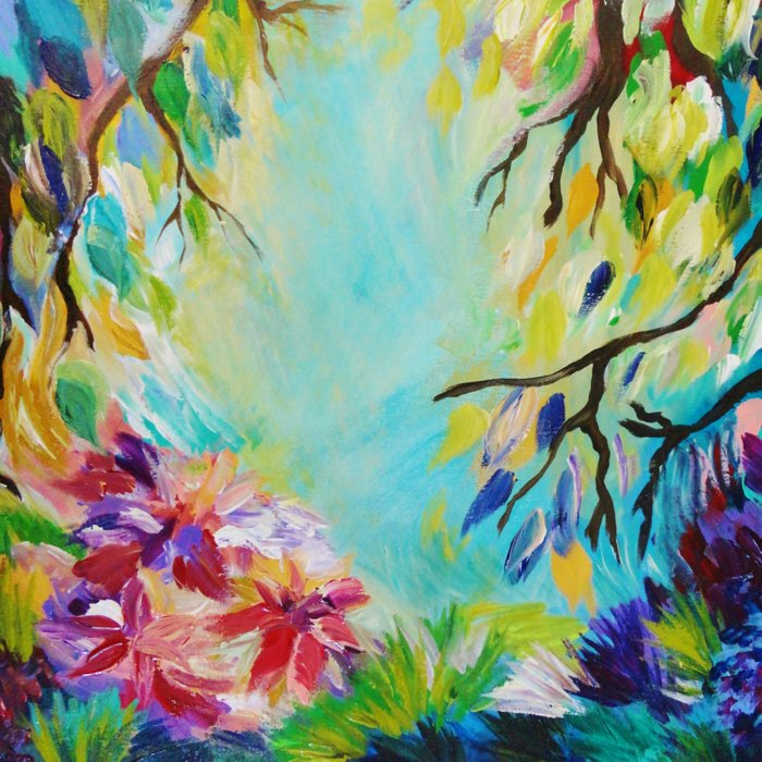 BLISS - Stunning Bold Colorful Idyllic Dream Floral Nature Landscape Secret Garden Acrylic Painting Comforters
