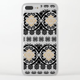 Black white faux gold glitter hand painted floral aztec Clear iPhone Case
