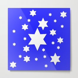WHITE STARS ON BLUE DESIGN ART Metal Print