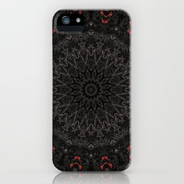 Red and Black Bohemian Mandala Design iPhone Case