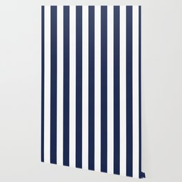 Space cadet blue - solid color - white vertical lines pattern Wallpaper