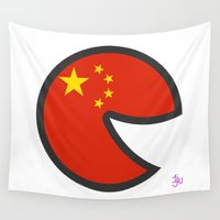 china Wall Tapestries featuring China Smile by onejyoo