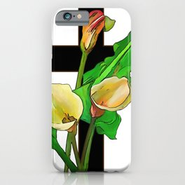Three Calla Lilies And Christian Cross iPhone Case
