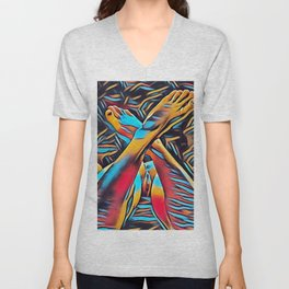 3766s-BH Abstract Leg Arch Vulva Art Feet Up Rendered Abstract by Chris Maher Unisex V-Neck
