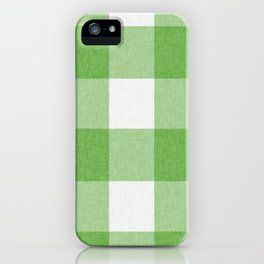 Green and White Buffalo Plaid iPhone Case