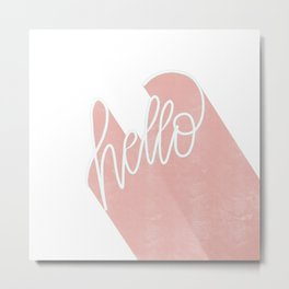 #Hello #Lettering #Pink #Pastel Metal Print