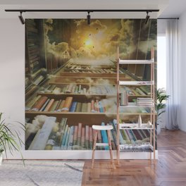 Library of books to heaven surreal portrait Wall Mural