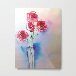 Watecolor Red Roses - Minimalist Art Metal Print