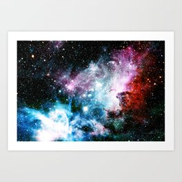Carina Nebula : Vivid Blue Fuchsia and Red Art Print