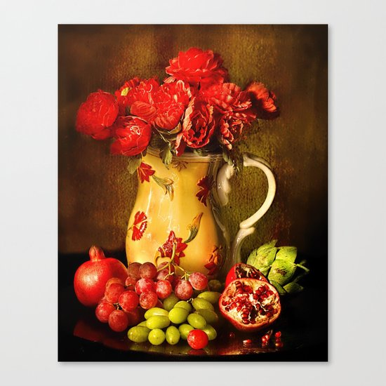 Flower and fruit Canvas Print