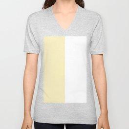 White and Blond Yellow Vertical Halves Unisex V-Neck