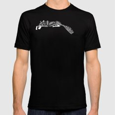 Sleeping Grey Wolf MEDIUM Mens Fitted Tee Black