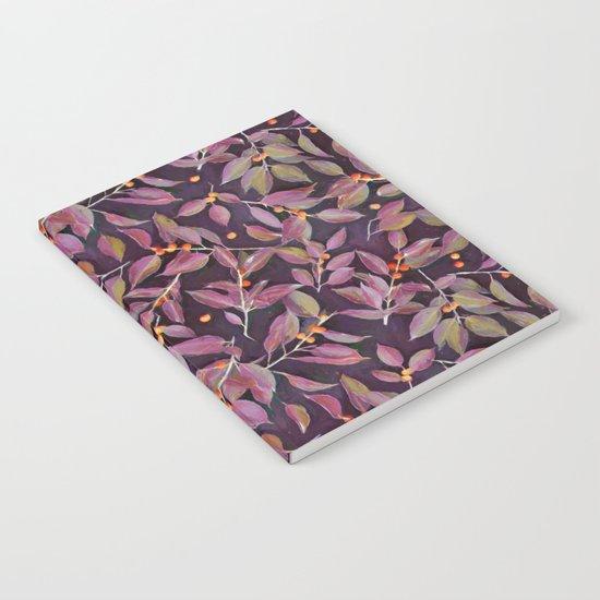 Leaves + Berries in Olive, Plum & Burnt Orange Notebook