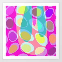 Nouveau Retro Graphic Pink Yellow and Blue Art Print