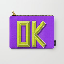 """OK"" 3D Letters (Violet Purple, Lime Green Yellow) Carry-All Pouch"