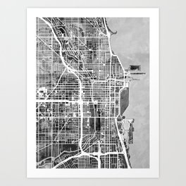 Chicago Map Art Prints | Society6 on