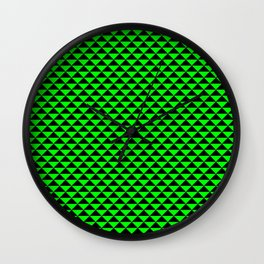 Black and Lime Green Triangles Wall Clock