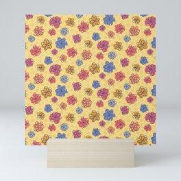 Flower Doodles on Yellow Mini Art Print