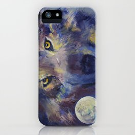 Grey Wolf Moon iPhone Case