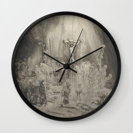 """Rembrandt - Christ Crucified Between the Two Thieves (""""The Three Crosses"""") (1653) Wall Clock"""