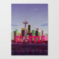 seattle Canvas Prints featuring Seattle by WyattDesign