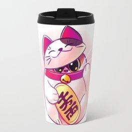 Shy Lucky Cat Travel Mug