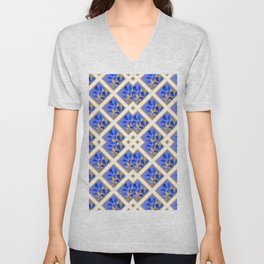 ABSTRACTED BLUE & GOLD PATTERN  CALLA LILIES  DESIGN Unisex V-Neck