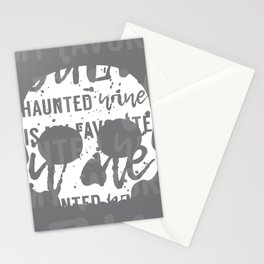 Skull with Wine Typography Gray White Stationery Cards