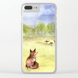 Red Fox Watching Wild Turkeys - Watercolor Clear iPhone Case