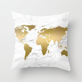 Metallic Gold World Map On Marble Throw Pillow