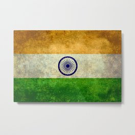 Flag of India - Retro Style Vintage version Metal Print