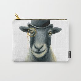 Dapper Sheep // Hand Painted Sheep in Bowler Hat Carry-All Pouch