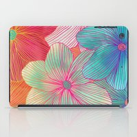 running iPad Cases featuring Between the Lines - tropical flowers in pink, orange, blue & mint by micklyn