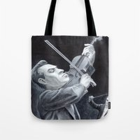 soviet Tote Bags featuring A Soviet Violinist by Mark Schaeffer Studios