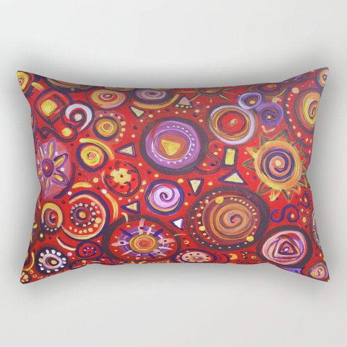 Red Square Abstract Painting Rectangular Pillow