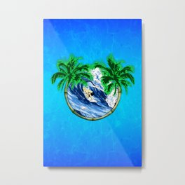 Tropical Surfer Metal Print