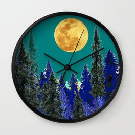BLUE FOREST TEAL SKY MOON LANDSCAPE ART Wall Clock
