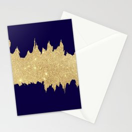 Modern abstract navy blue gold glitter brushstrokes Stationery Cards