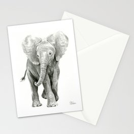 Baby Elephant Watercolor Stationery Cards