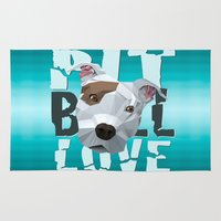 pit bull Area & Throw Rugs featuring Pit Bull by Benjamin Ring