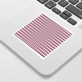 Dark red and white thin horizontal stripes Sticker