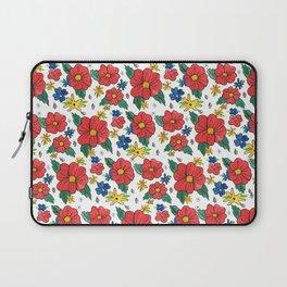 Red Vinage Flowers Laptop Sleeve