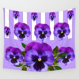MODERN LILAC & PURPLE PANSY FLOWERS ART Wall Tapestry