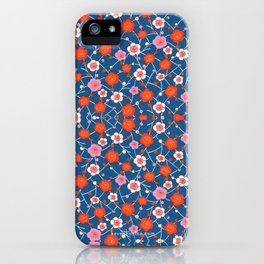 Red and Blue floral Pattern iPhone Case