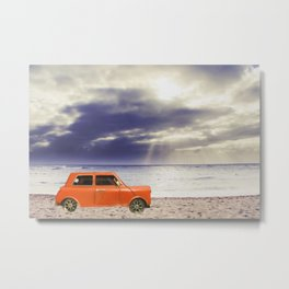 orange classic car on the sandy beach with beautiful sky and beach background Metal Print