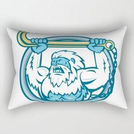 Yeti Lifting J Hook Circle Retro Rectangular Pillow