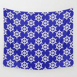 Ship Wheel (White & Navy Blue Pattern) Wall Tapestry