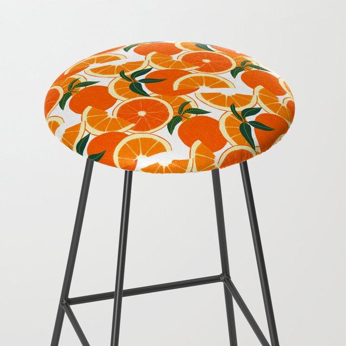 Orange Harvest - White Bar Stool