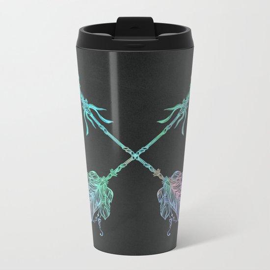 Tribals Arrows Turquoise on Gray Black Metal Travel Mug