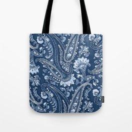 Blue indigo paisley Tote Bag